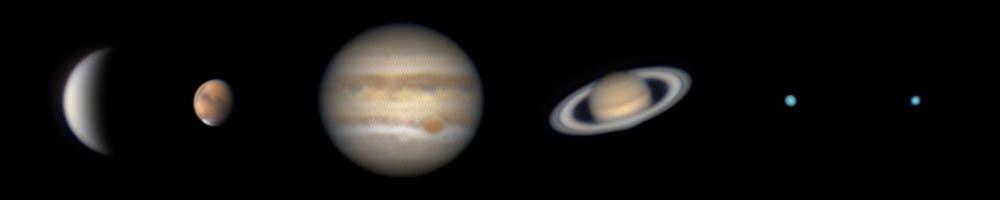 Sechs Planeten in einer Nacht