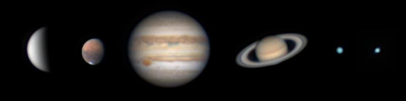 Sechs Planeten in der Nacht vom 6. zum 7. August 2020