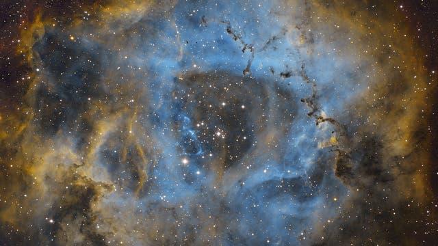 Rosetten Nebel in Hubble-Palette