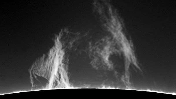 Protuberanzen am SW-Rand der Sonne
