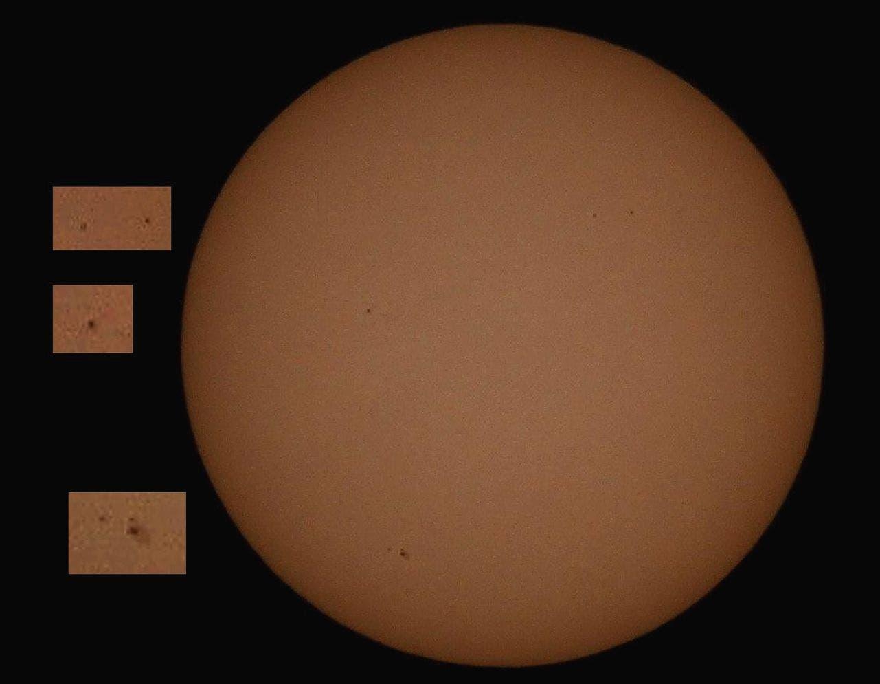 Sonne mit drei Fleckengruppen