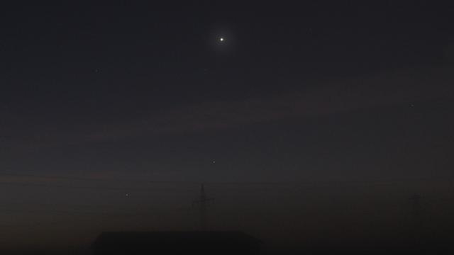 Merkur, Venus und Spika am Morgenhimmel