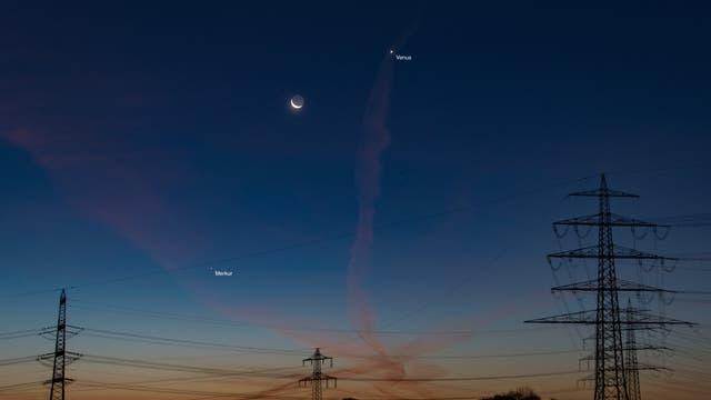 Mond, Venus und Merkur in der Morgendämmerung über Werne