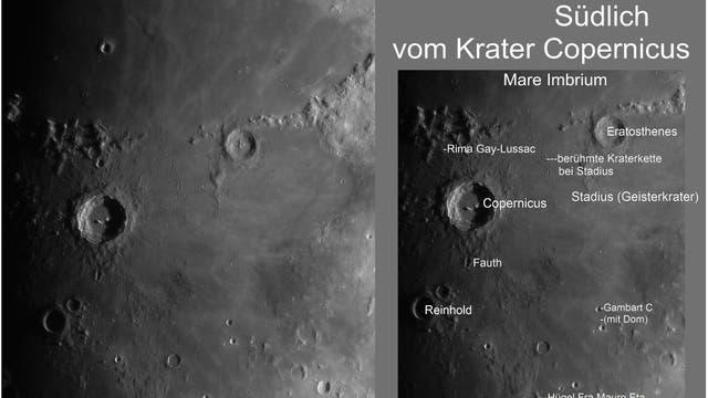 Nördlich, östlich und südlich vom Krater Copernicus