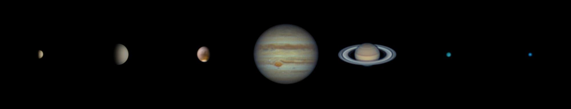 Sieben Planeten mit 5-Zoll-Teleskop