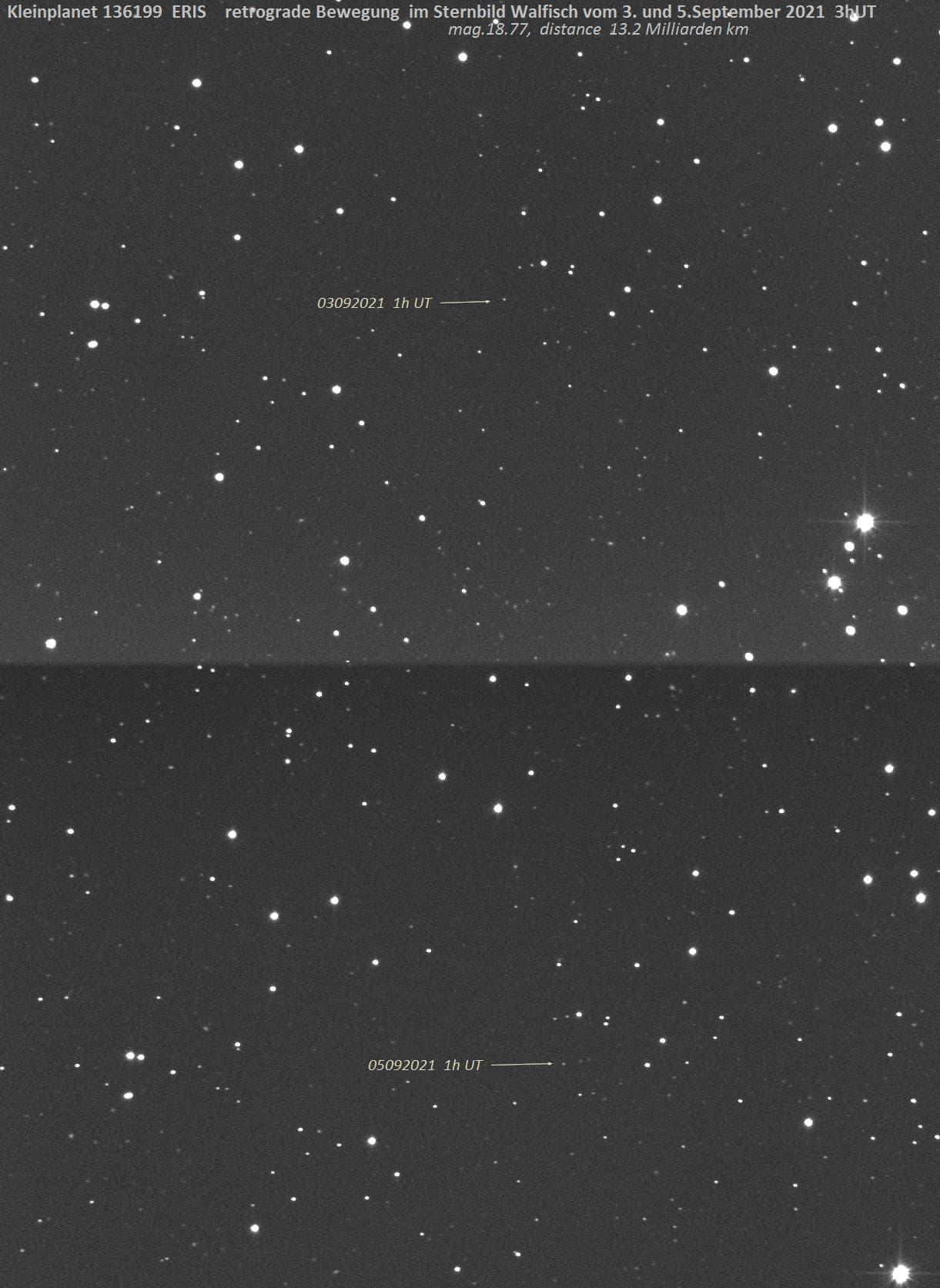 Kleinplanet Eris retrograd in Cetus