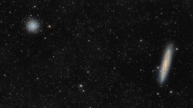 Sculptor-Galaxie und Kugelsternhaufen NGC 288