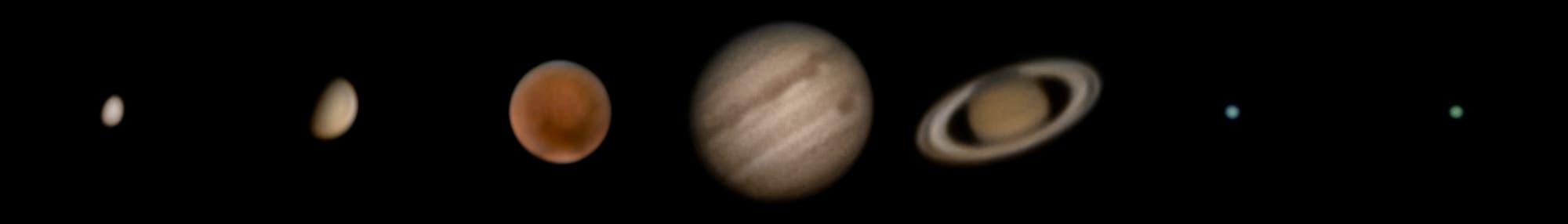 7 Planeten mit mit 65-mm-Refraktor und Systemkamera