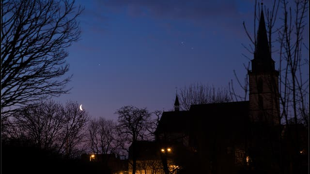 Jupiter, Mars, Saturn und Mond