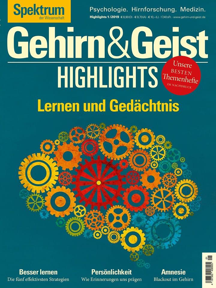 Heftcover Gehirn&Geist Highlights 1/2019 Lernen und Gedächtnis