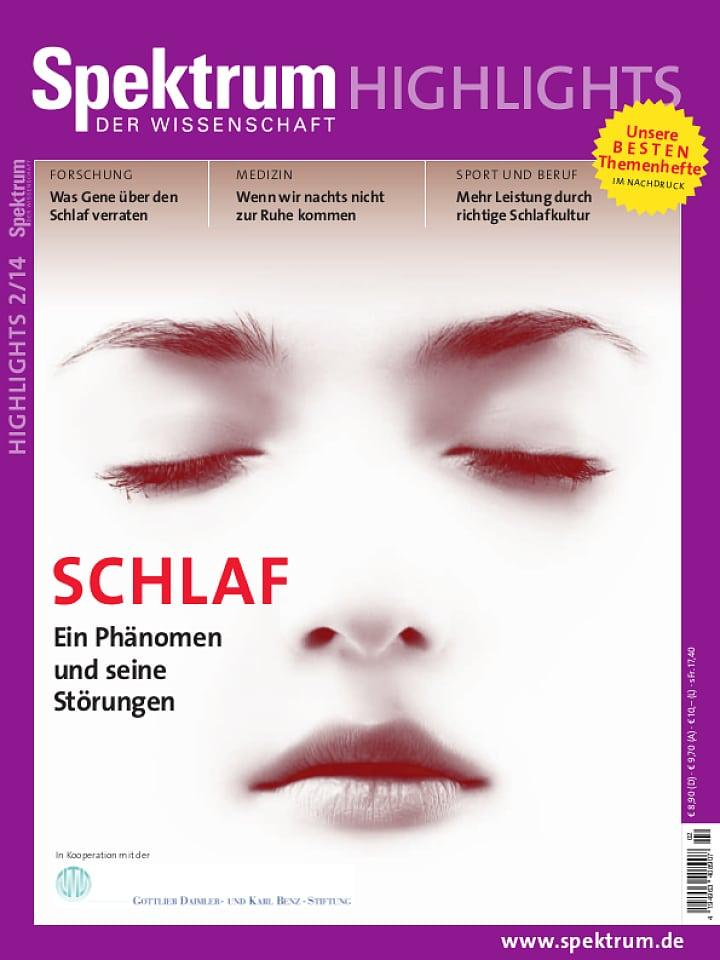 Heftcover Spektrum der Wissenschaft Highlights 2/2014 Schlaf