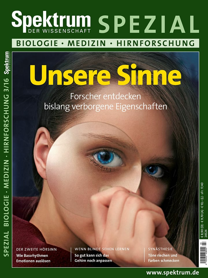 Heftcover Spektrum der Wissenschaft Spezial Biologie – Medizin – Hirnforschung 3/2016 Unsere Sinne