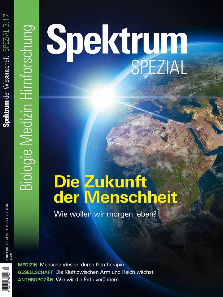 Heftcover Spektrum der Wissenschaft Spezial Biologie – Medizin – Hirnforschung 3/2017 Die Zukunft der Menschheit