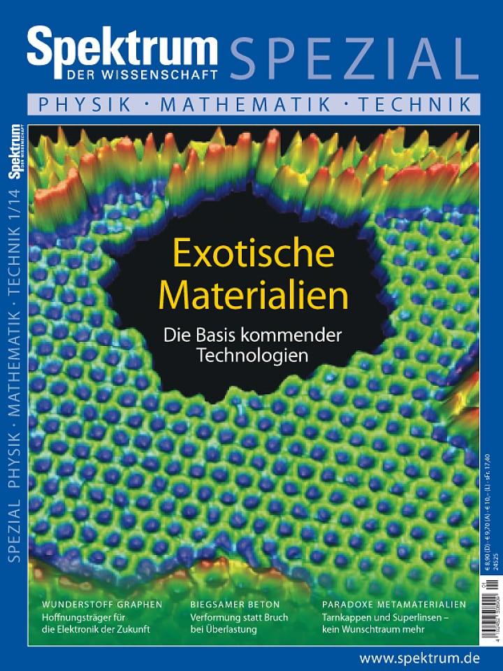 Heftcover Spektrum der Wissenschaft Spezial Physik – Mathematik – Technik 1/2014 Exotische Materialien
