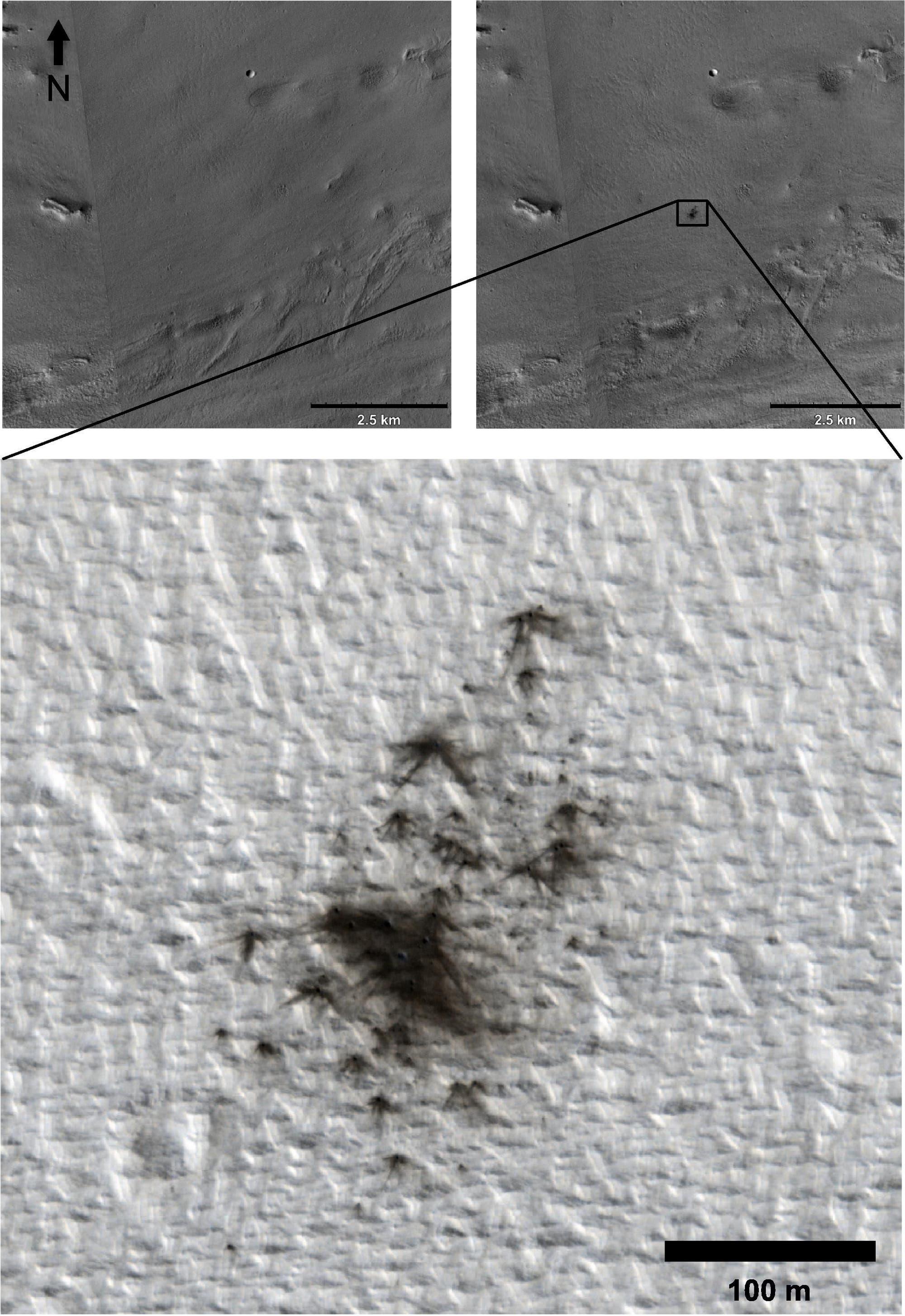 Ein Kraterstreufeld auf dem Mars