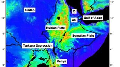 Falschfarbenbild des ostafrikanischen Grabenbruchs