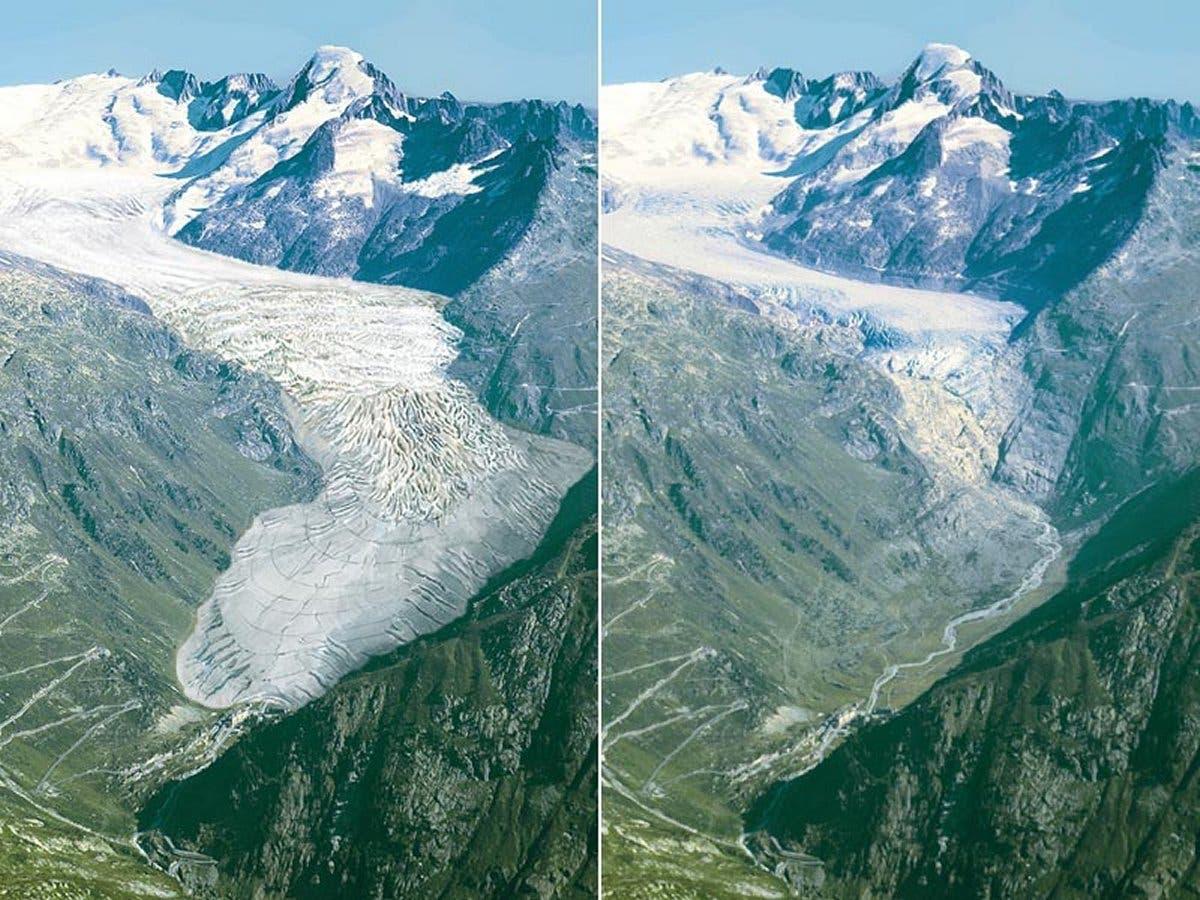 Entwicklung des Rhonegletschers von 1850 bis heute