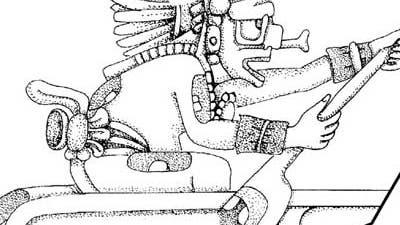 Rudernde Maya-Gottheit