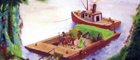 """Anlandung von Lepra-Kranken (""""The Landing"""", gemalt von Johnny Harmon)"""