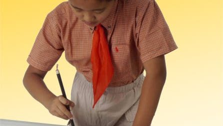 Schreibender chinesischer Schüler