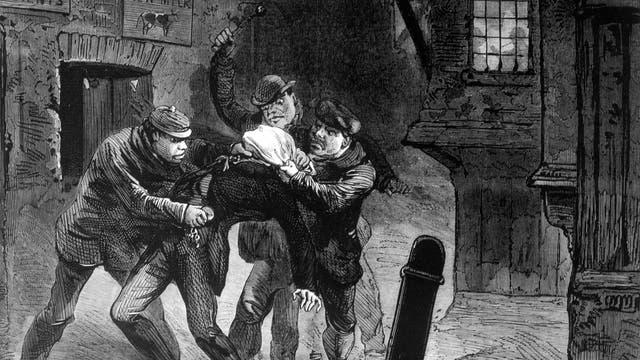 »Garrotters« schlagen zu! Illustration aus dem Jahr 18712