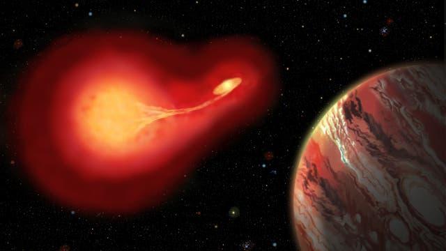 Sterbender Doppelstern tauscht Material mit seinem Begleiter aus, im Vordergrund Planet