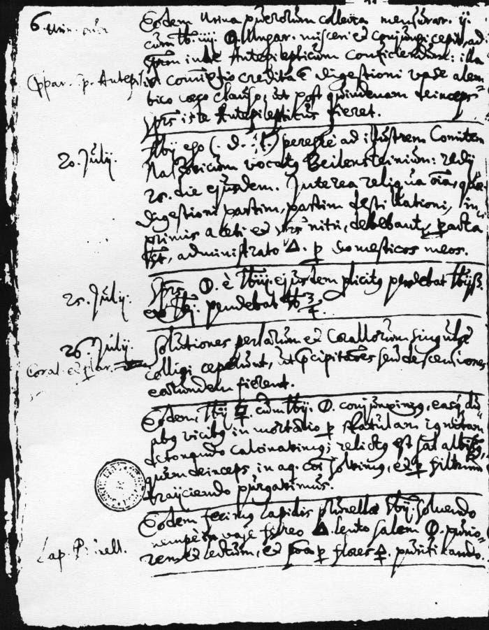 Eine Seite aus der Abschrift eines Labortagebuchs von 1615