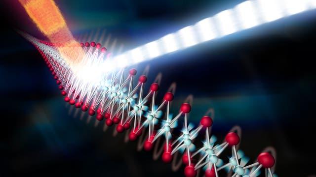 Bild von Laserstrahl, der Eisenselenid trifft