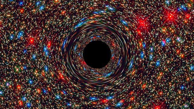 Supermassereiches Schwarzes Loch in einer Simulation