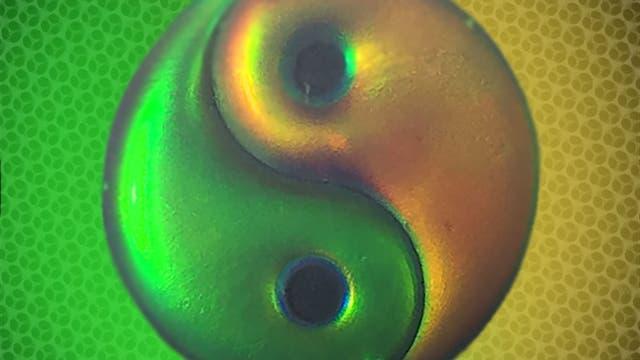 Yin-Yang-Symbol aus Strukturfarbgel