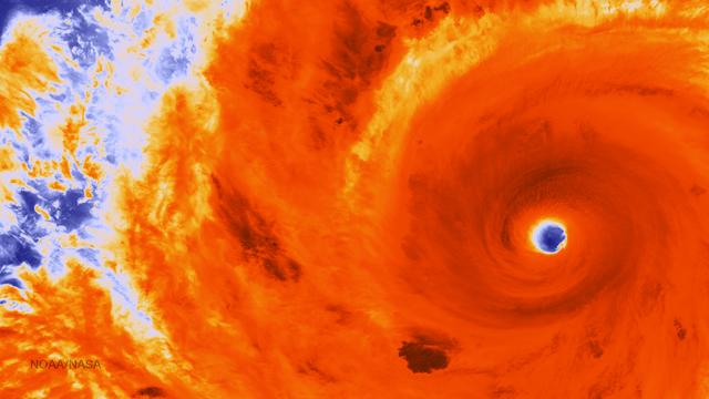 Taifun Soudelor im Infrarot-Satellitenbild