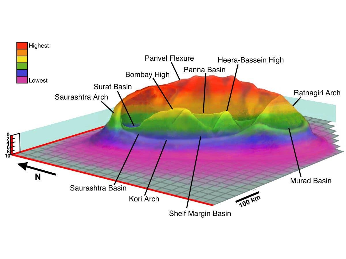 Rekonstruktion des Shiva-Kraters