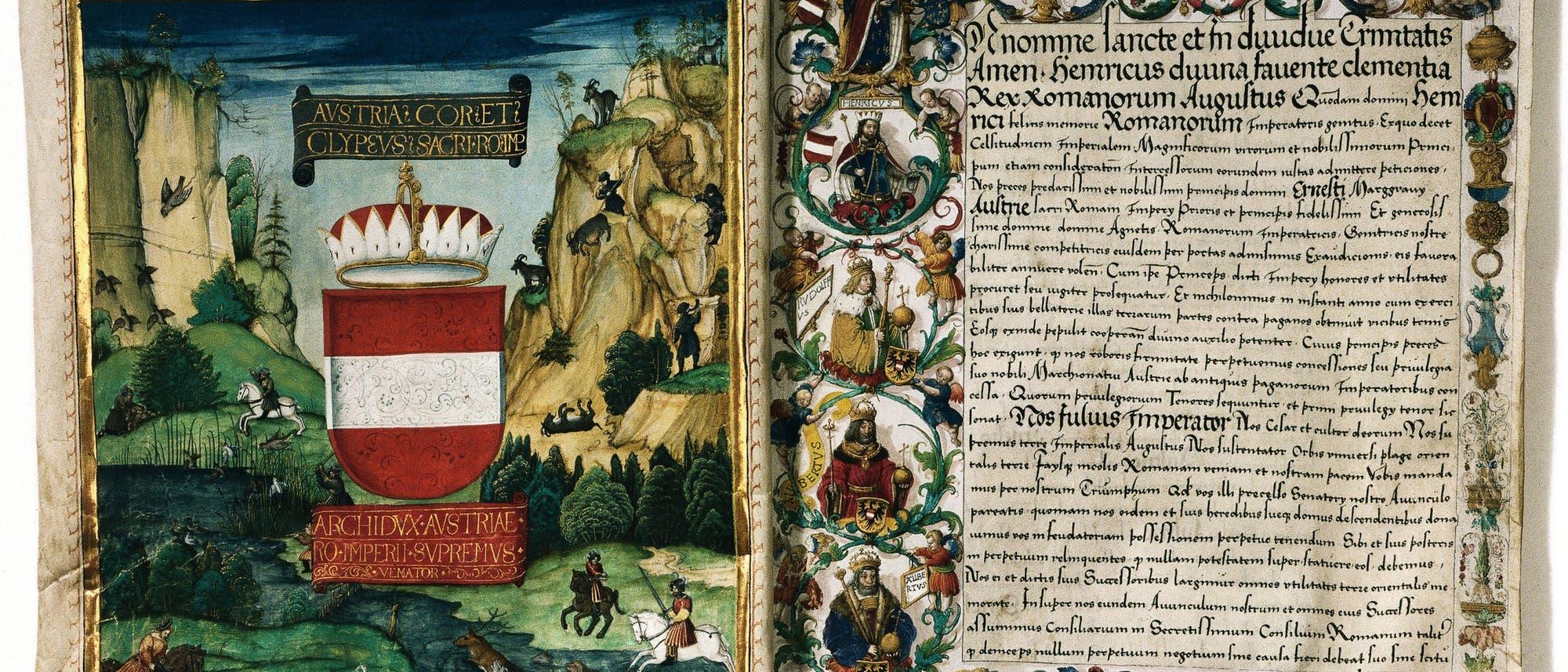 Abschrift des »Privilegium maius« von 1512. Der Habsburger Rudolf IV. hatte den Inhalt des Dokuments 1359 erfunden.