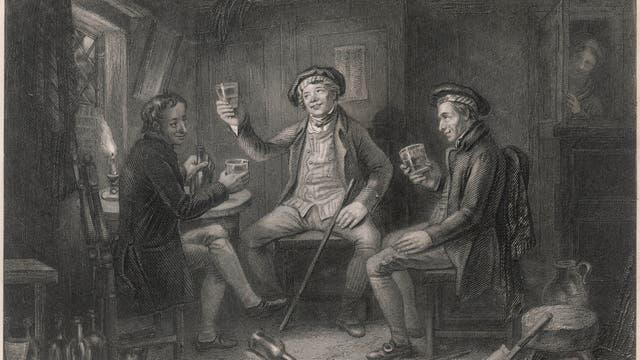 Gesellige Whisk(e)yrunde. Bild um 1800.