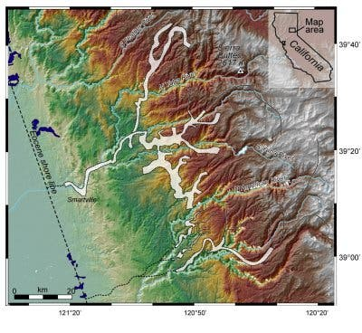 Reliefkarte der nördlichen Sierra Nevada