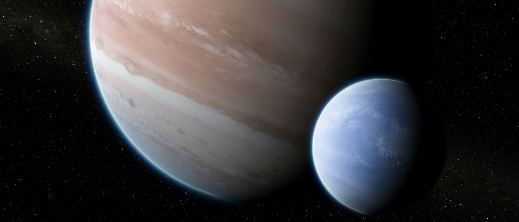 Künstlerische Darstellung eines Exomondes. Sieht aus wie zwei Gasplaneten nebeneinander.