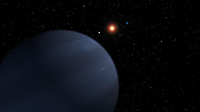 Künstlerische Darstellung von Exoplaneten um 55 Cancri