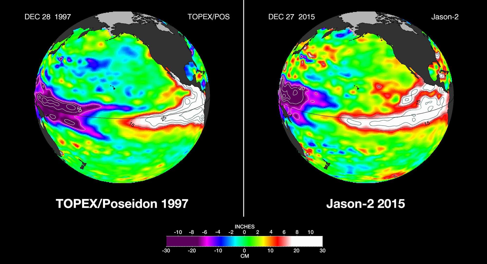 Vergleich der Niño-Ereignisse 1997 und 2015