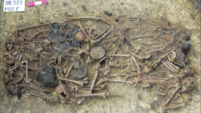 Blick auf das Massengrab mit den Knochen von 15 Individuen samt Grabbeigaben.