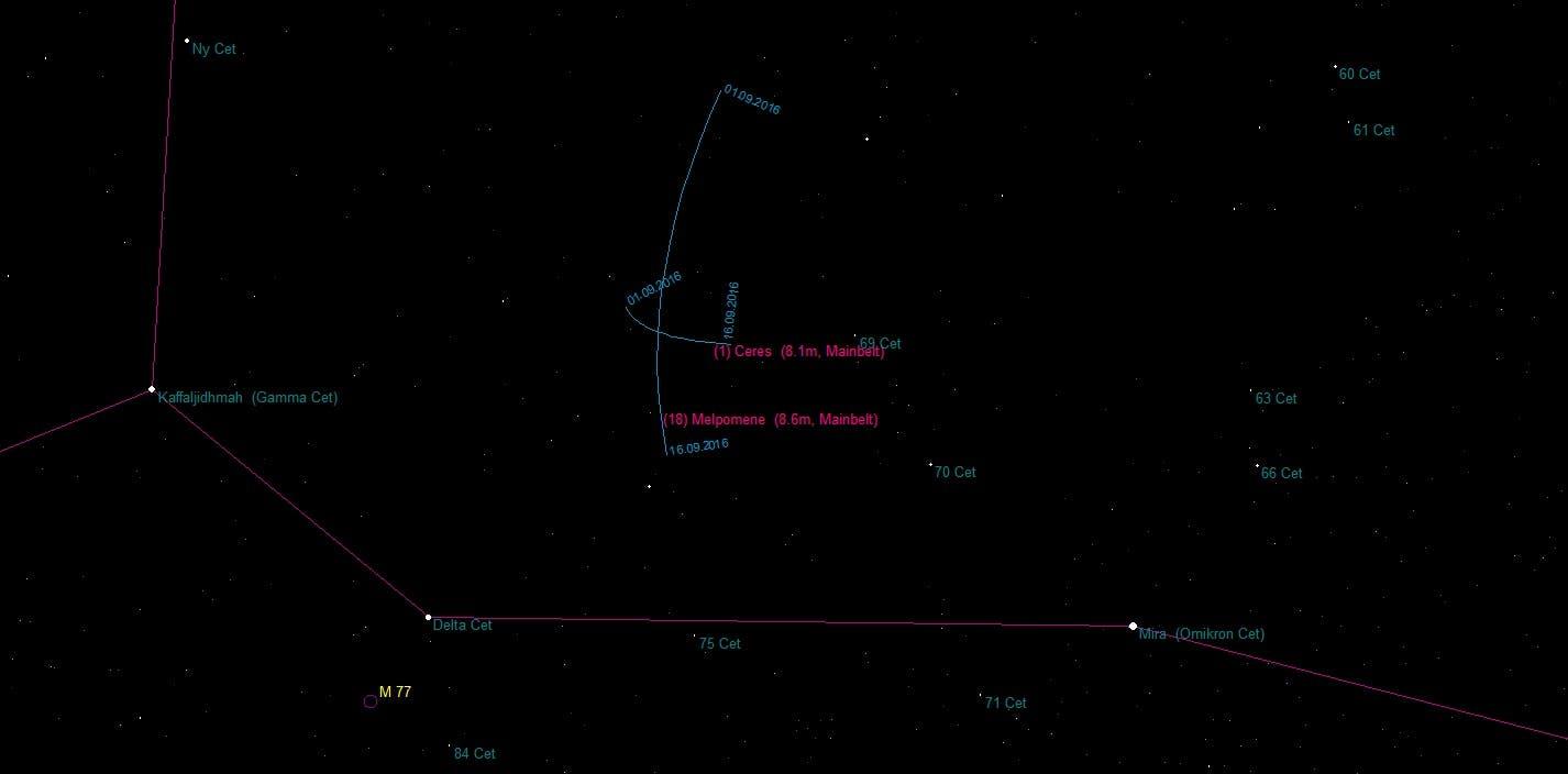 Aufsuchkarte für die Asteroiden (1) Ceres und (18) Melpomene
