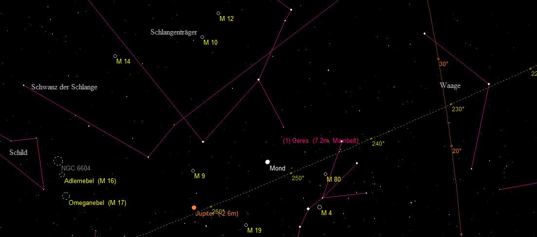 Aufsuchkarte für den Zwergplaneten (1) Ceres