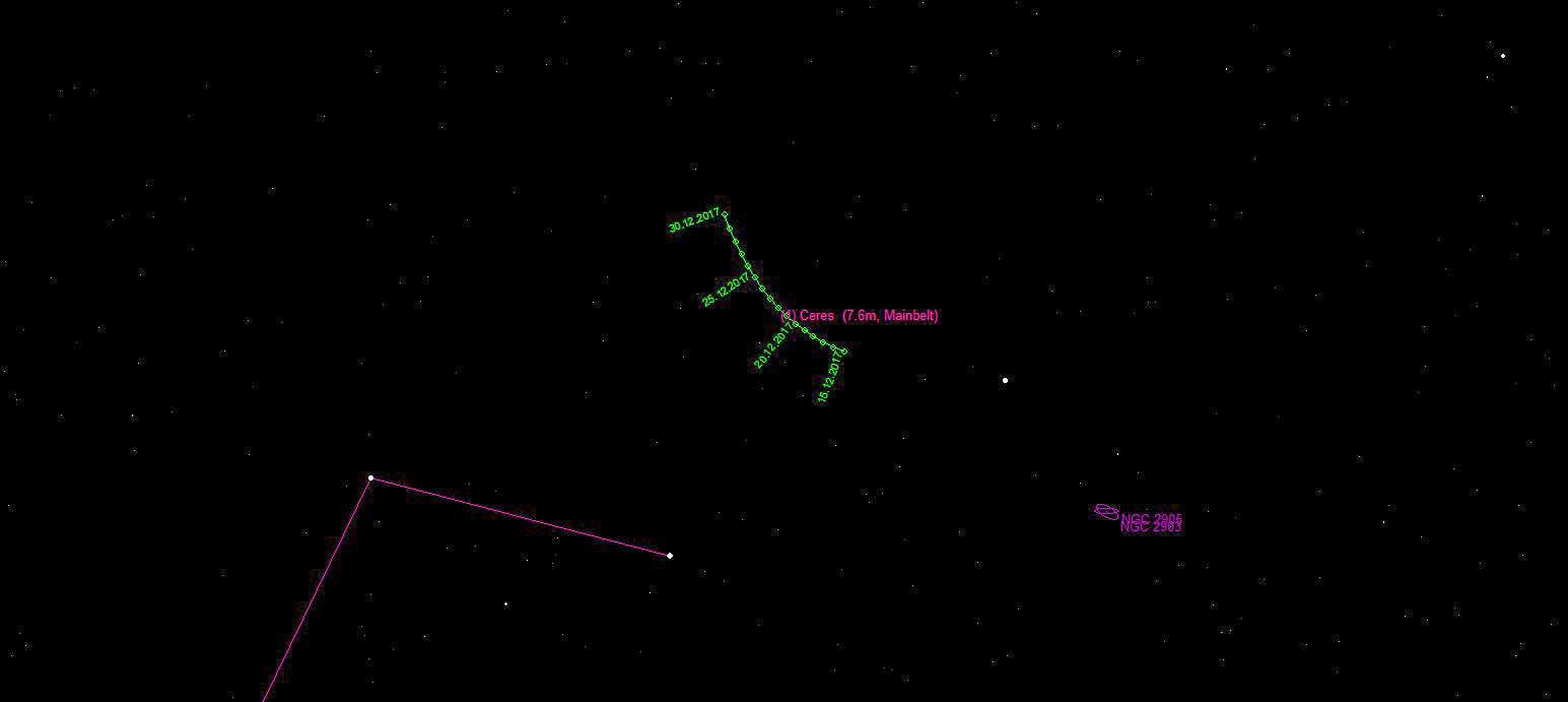 Aufsuchkarte für (1) Ceres