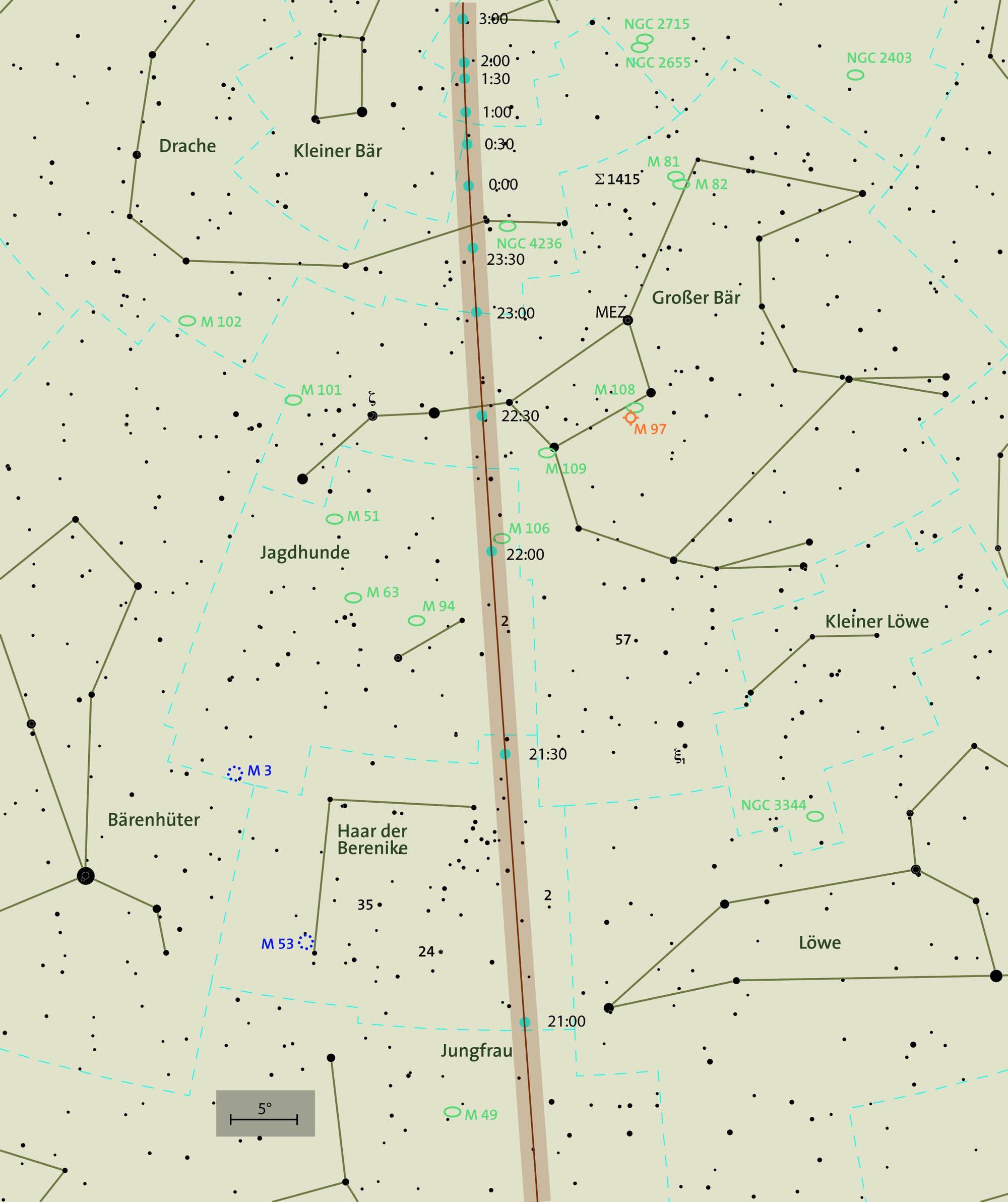 Übersichtskarte der Himmelsbahn von 2012 DA14 invertiert für Beobachter