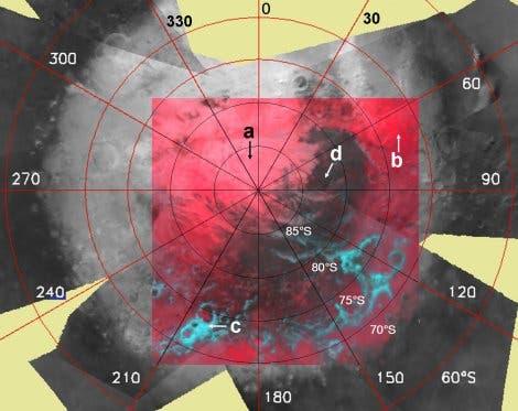 """Mars-Südpol mit dunkler """"kryptischer Region"""""""