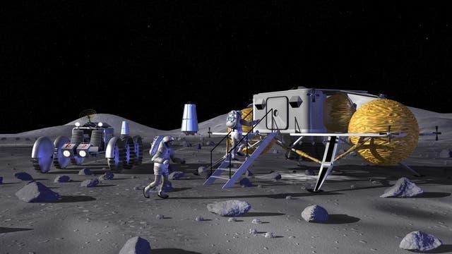 Raumbasis auf dem Mond (künstlerische Darstellung)