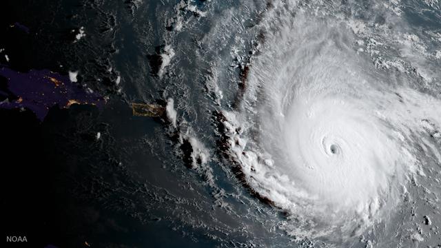 Der Wirbelsturm Irma vor den kleinen Antillen