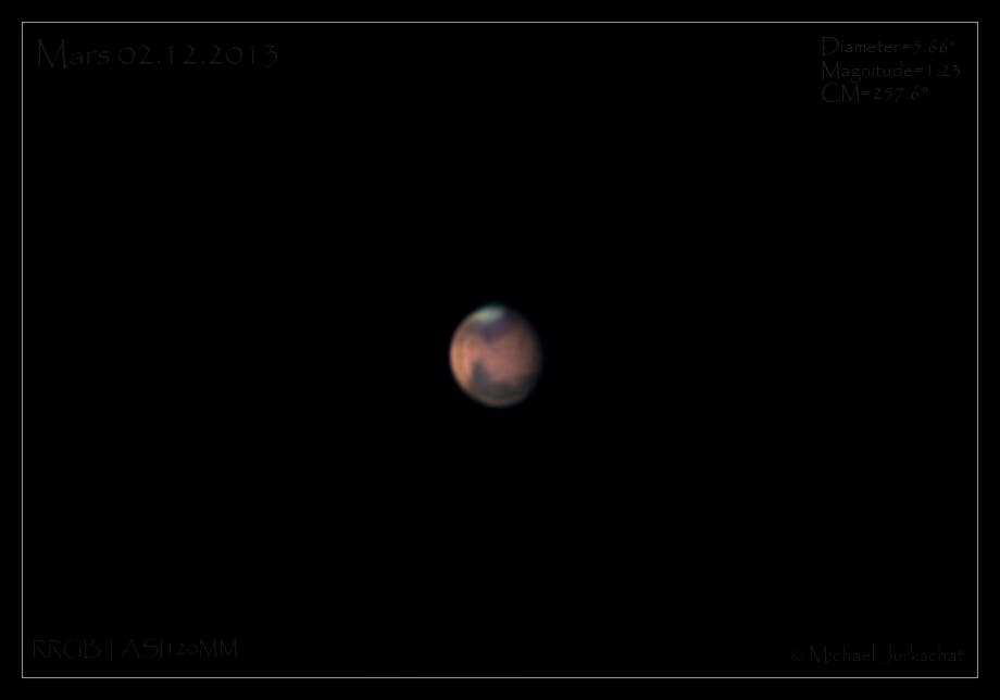 Mars mit ausgeprägter Lichtphase