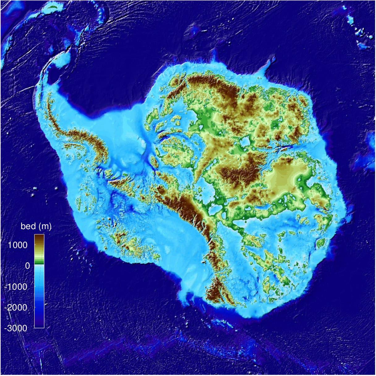 Topografie der Antarktis