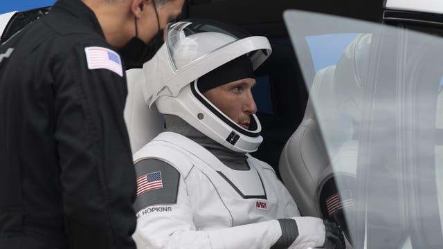 Nasa-Astronaut Mike Hopkins während einer Generalprobe vor dem Start der Crew-1-Mission am 12. November.