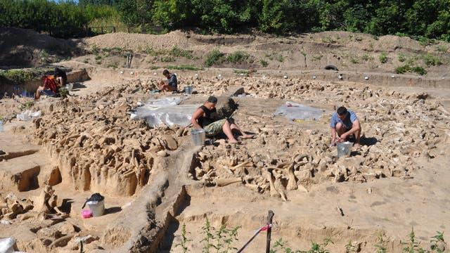 Kostenki-11 bei der Ausgrabung